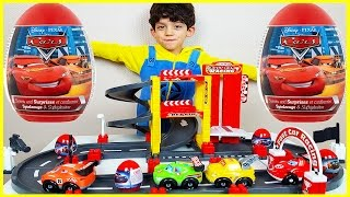 Cars Toys Surprise Eggs Opening on the Race Track