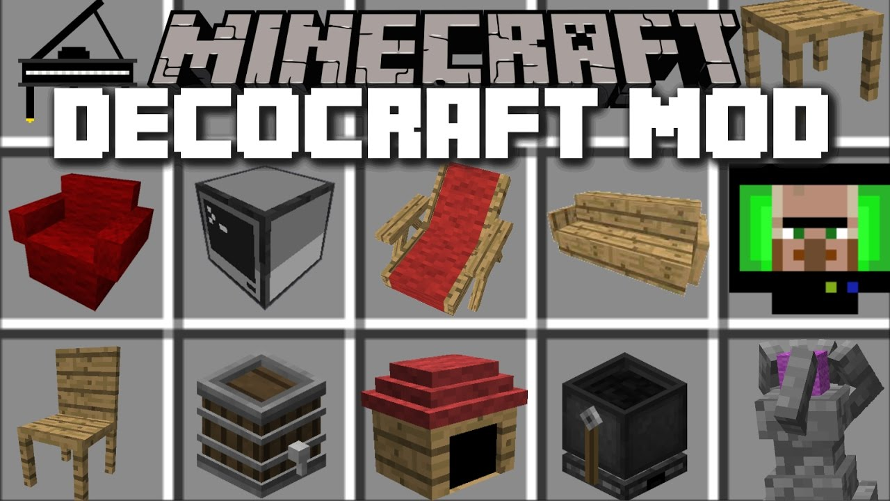 Minecraft HOUSE DECOCRAFT MOD / ADD FURNITURE TO YOUR HOUSE