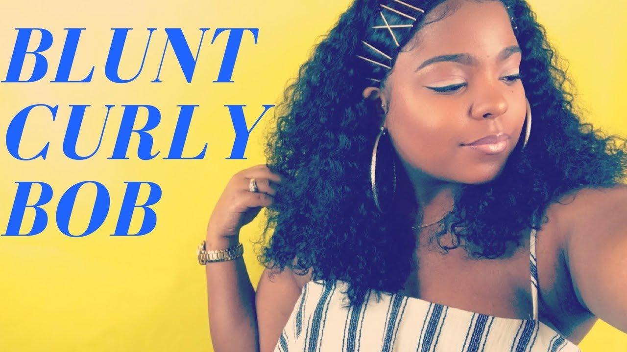Blunt Cut Curly Bob Tutorial Youtube
