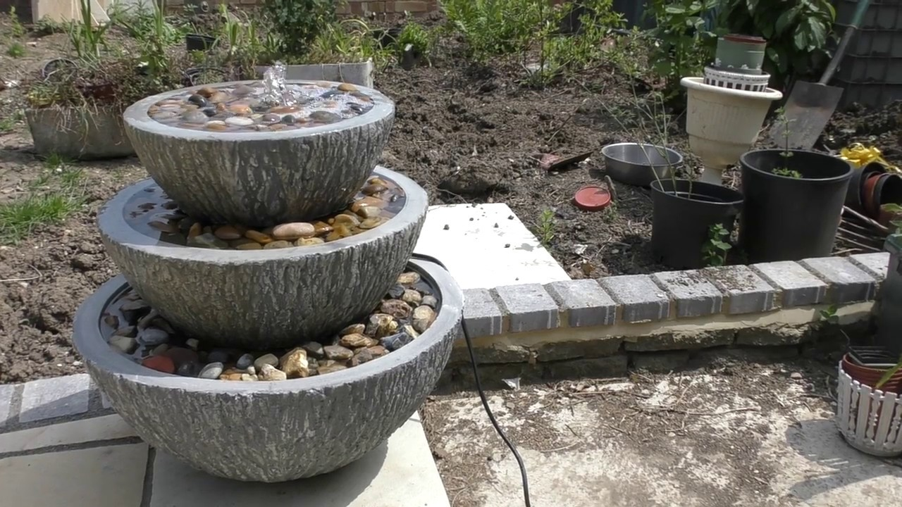 Home Made 3 Tiered Fountain Garden Water Feature DIY PROJECT U0027HOW TOu0027  TUTORIAL Stones Pebbles Rocks