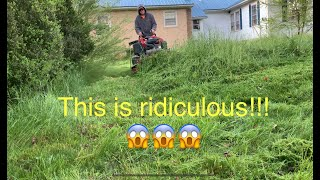 Mowing the Most Overgrown lawn of the season! ~ lawn care owners property!