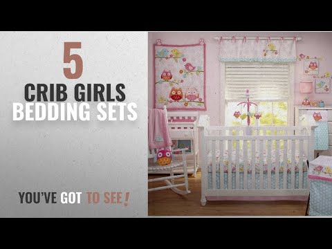 Top 10 Crib Girls Bedding Sets [2018]: Nojo Love Birds 4 Piece Comforter Set with Diaper Stacker
