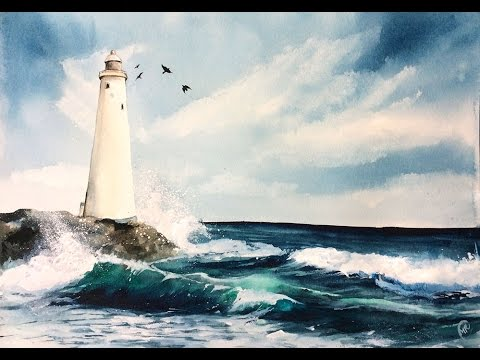 Watercolor LightHouse Painting Demonstration - ViYoutube