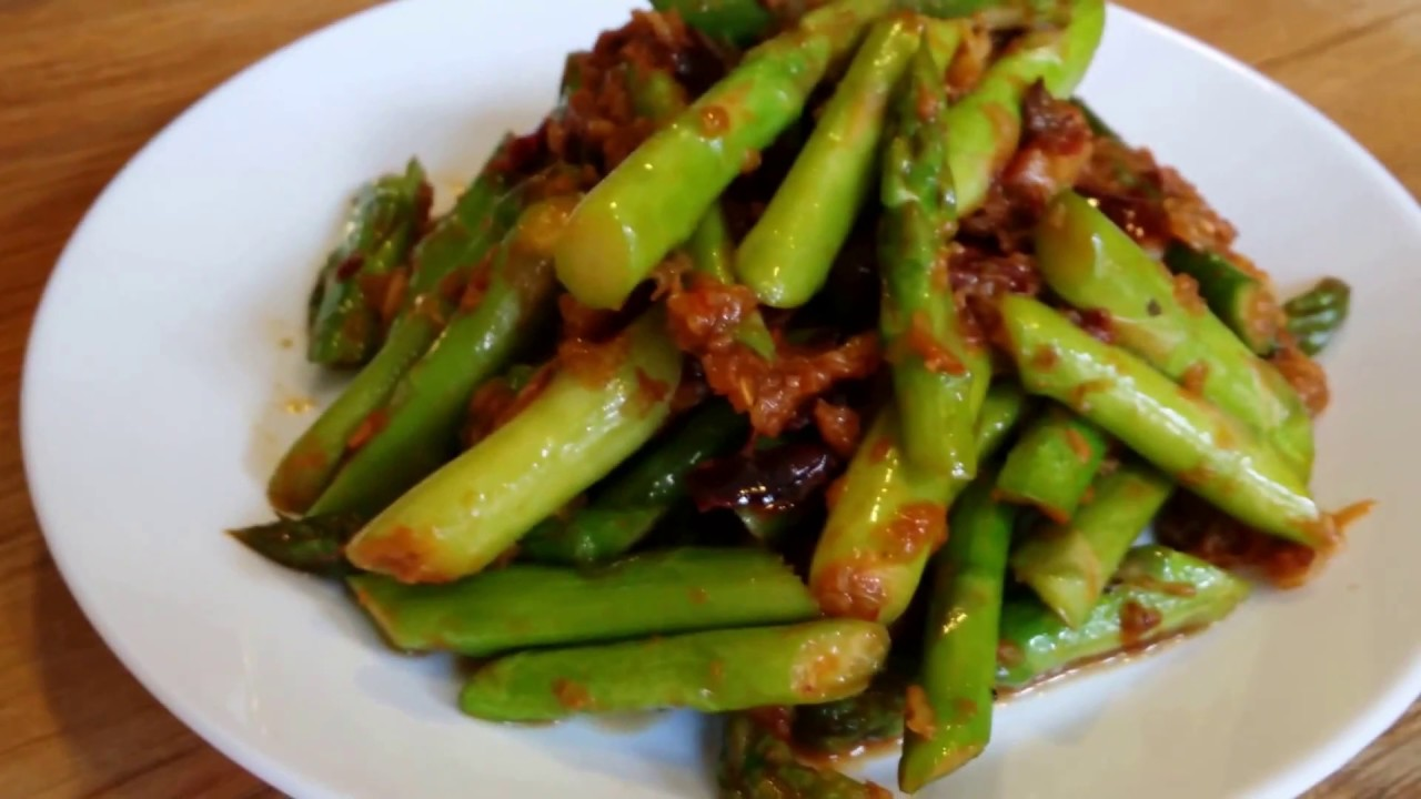Asparagus With Belacan หน อไม ฝร งผ ดกะป E049 Youtube