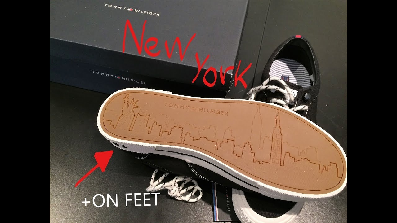 9c783f31f1 Tommy Hilfiger black & white NEW YORK shoes/sneaker + ON FEET. FMOFMOO592 /  Y2285ARMOUTH 1D