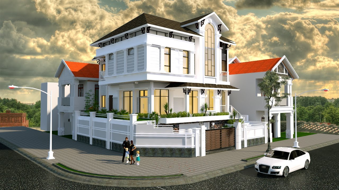 Vray rendering for sketchup exterior rendering with vray and post production in photoshop for Setting render vray sketchup exterior