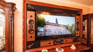 Домашний кинотеатр в квартире. Телевизор в интерьере.