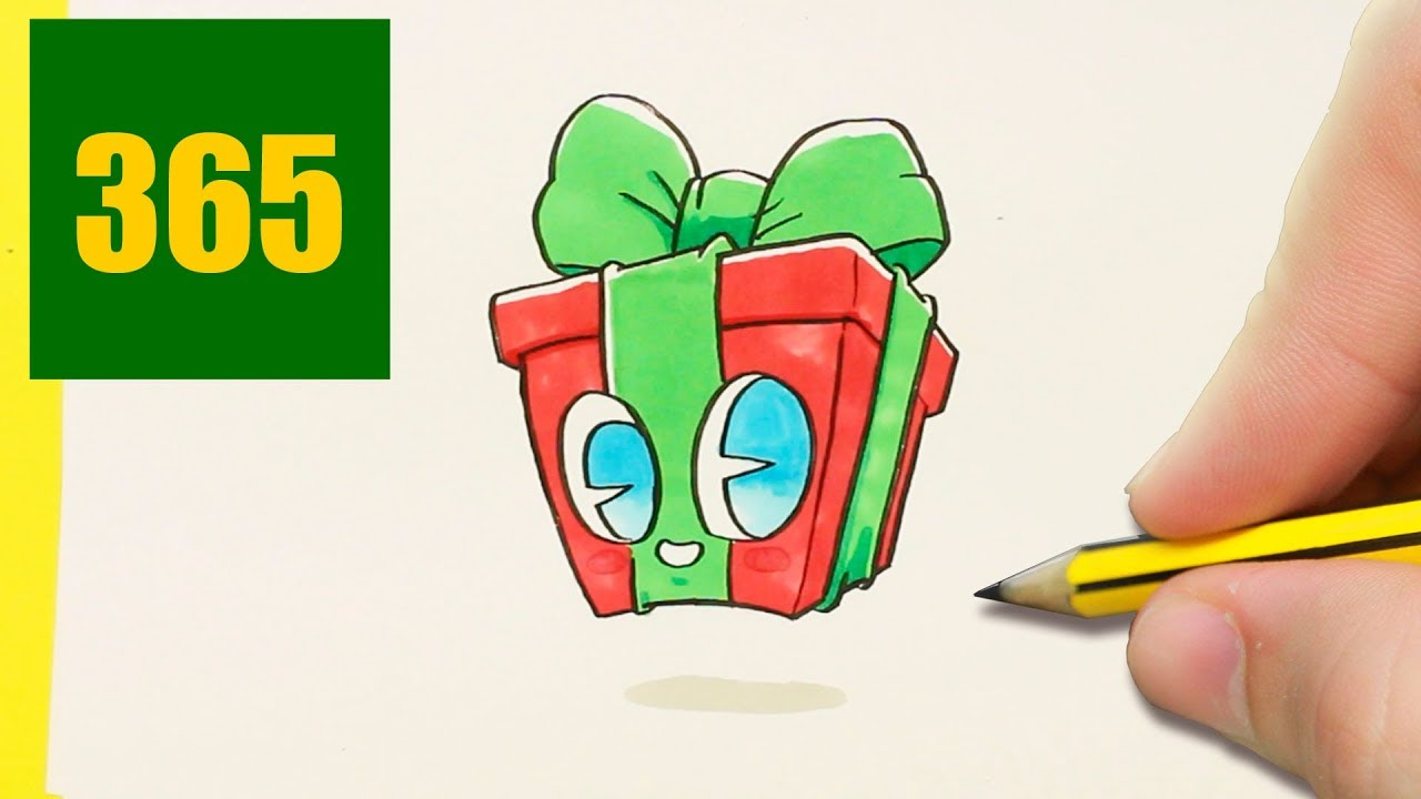 Comment Dessiner Cadeau De Noël Kawaii étape Par étape Dessins Kawaii Facile
