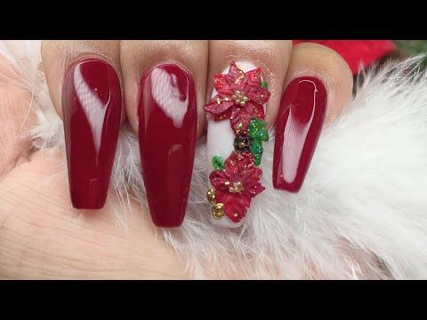 Uñas Acrílicas De Navidad Con Noche Buenas 3d En Color Rojo Punta Coffin E