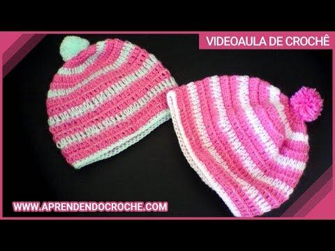Gorro de Croche para Bebê Amoreco - Aprendendo Crochê - YouTube 1dee41f895a
