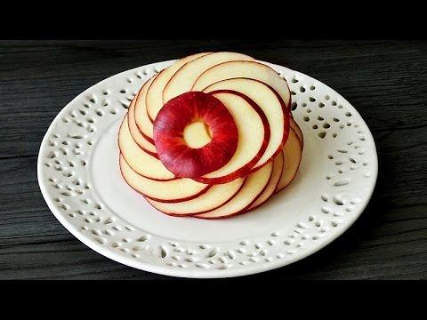 Art In Apple Flower | Fruit Carving Garnish | Apple Art | Party Garnishing