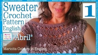 """Sweater off Shoulder Crochet """"Abril"""" BOHO (1) by Maricita Colours in English Blouse Pattern Free"""