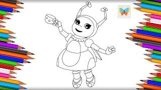 Как нарисовать Милу с кружкой чая из мультика Лунтик | Рисуем и Учим Цвета | Kids Coloring