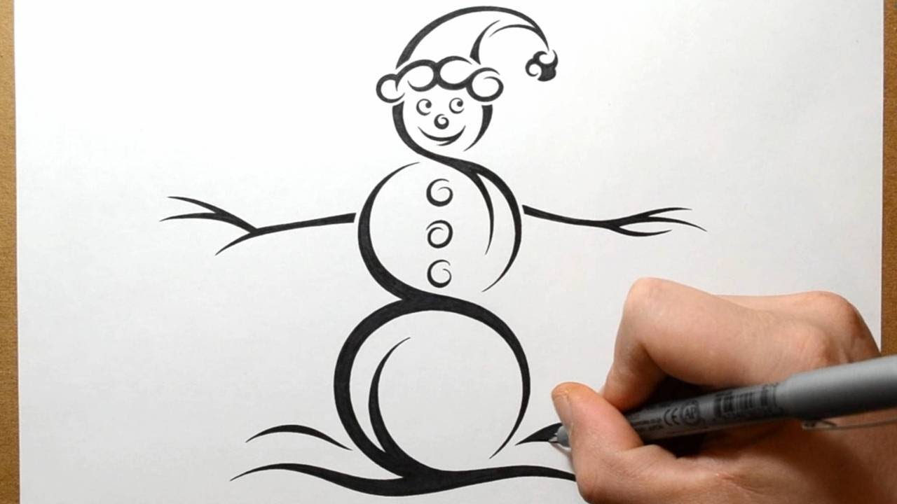 How To Draw A Snowman Tribal Tattoo Design Style YouTube