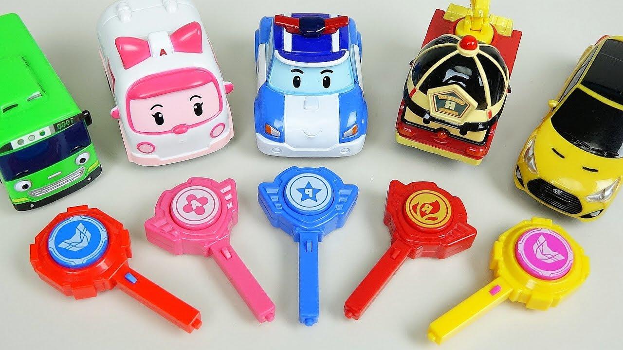 Robocar Poli car toys key cars Tobot CarBot Tayo bus play ...