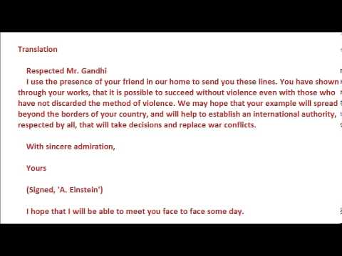 Letter from Einstein to Gandhi and Gandhi\u0027s response! - YouTube - Admiration Letter