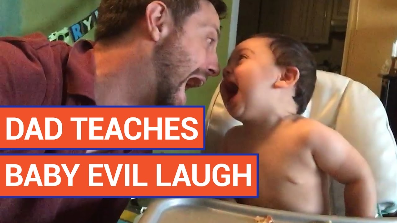 Dad Teaches Baby Evil Laugh Video 2016   Daily Heart Beat