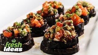 Gluten Free Bruschetta Recipe With Eggplant, Tomato And Fetta