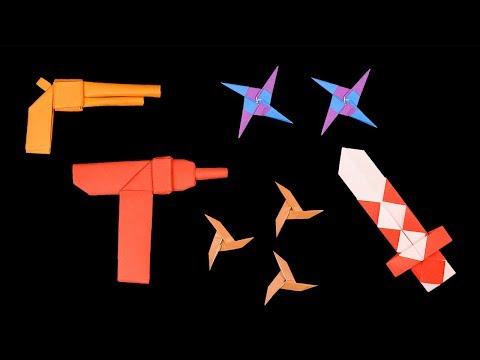 05 Easy #Origami Paper Ninja Star/Sword/gun - How to Make Step by Step