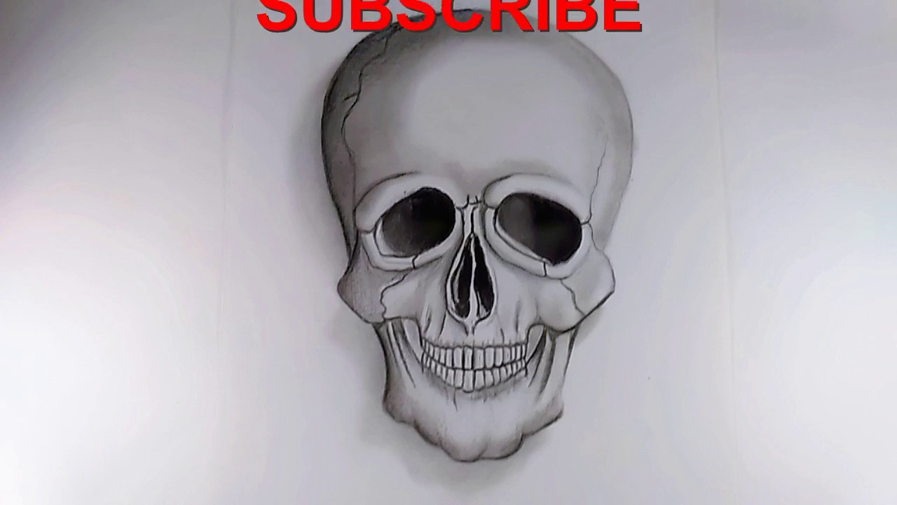 Drawing skull sketch 3d with pencil