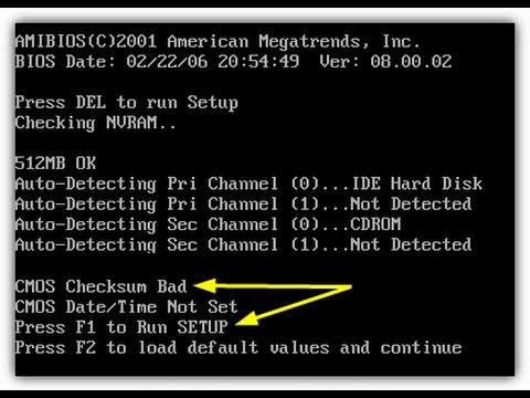CMOS Checksum Bad - Quick Easy Fix 1