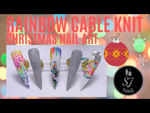 RAINBOW MULTICOLOURED CABLE KNIT | CHRISTMAS THEMED NAIL ART TUTORIAL | NAIL ART TREND thumbnail