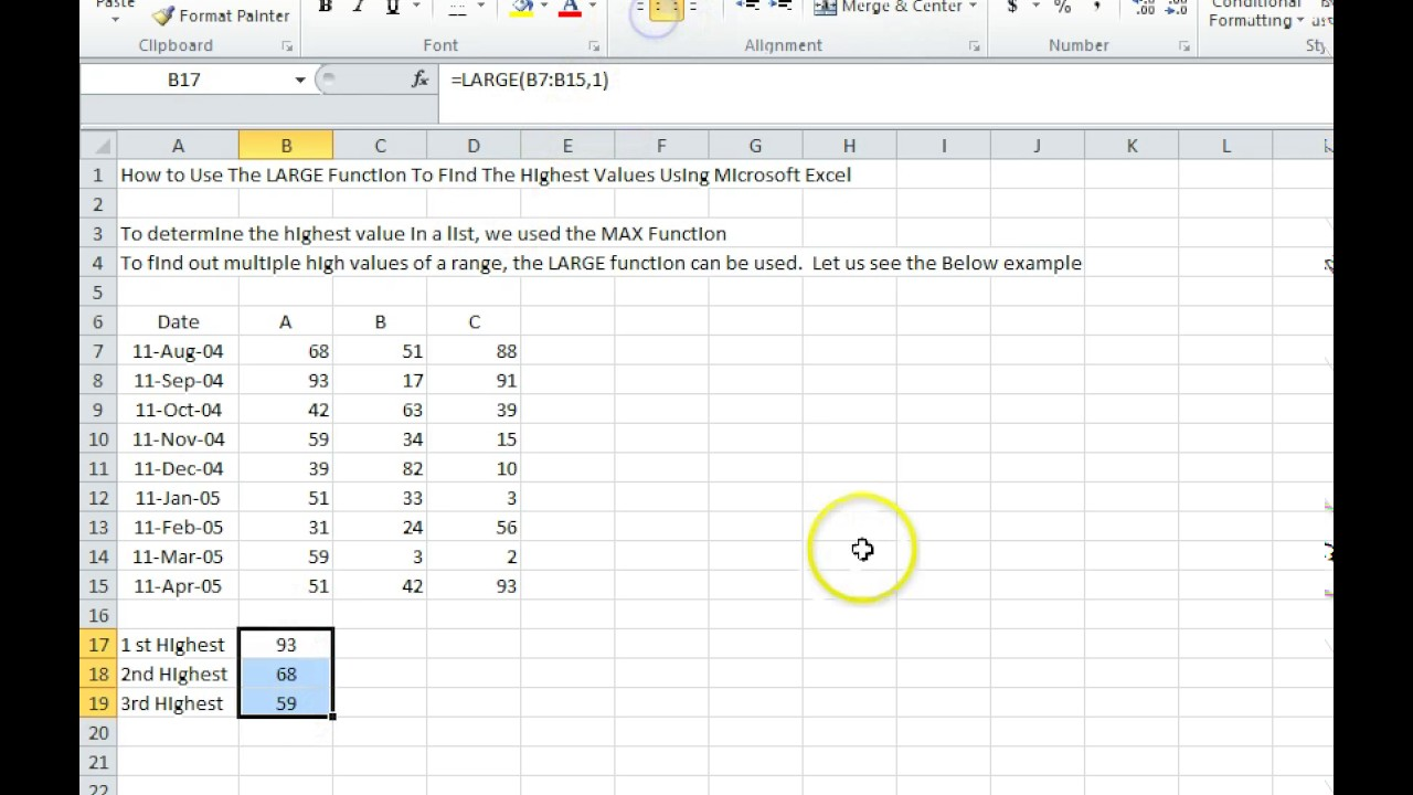 00115  How To Use The Large Function To Find The Highest Values Using  Microsoft Excel