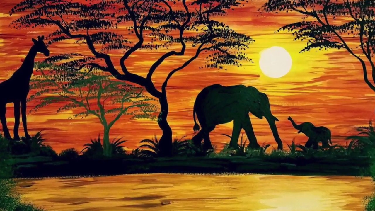 Watercolor African Safari Painting - YouTube