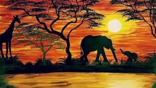 Watercolor African Safari Painting