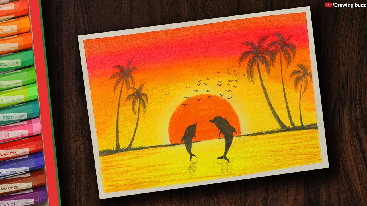 Dolphin Sunset Scenery Drawing With Oil Pastels For