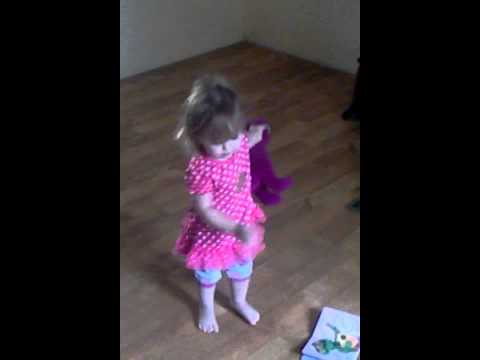 My Angel 19mos dancing with her barney.