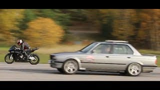 BMW S1000 RR HP4 200 HP vs BMW 325 iX E30 Turbo 800 HP by Nisse Järnet