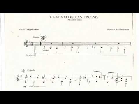 Carlos Moscardini - Camino de las Tropas for Guitar (Score video)