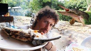 Probando el pez dinosaurio PEJELAGARTO | Chiapas