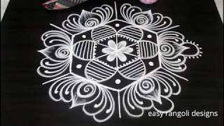 Kolam Designs for Friday with 5 dots || easy rangoli designs ||  new muggulu patterns