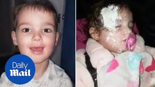 Young boy covers the floor and his sister in talcum powder