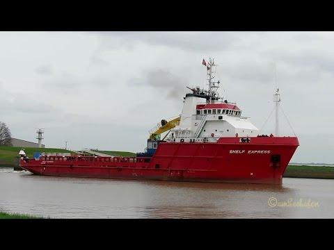 offshore multi purpose vesser SHELF EXPRESS OUZN2 IMO 8521531 outbound Emden timelapse BJ 1986
