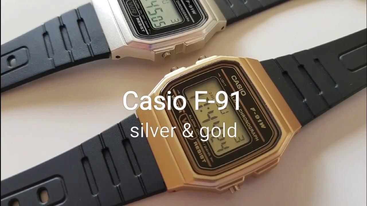 3f1922feea4d Casio F-91 gold   silver - YouTube