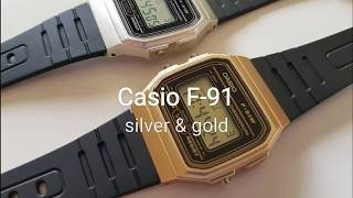 Casio F-91 gold & silver
