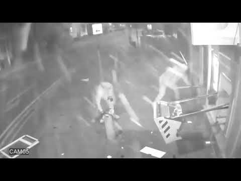 CCTV shows gang blowing cash machine from wall using gas canister