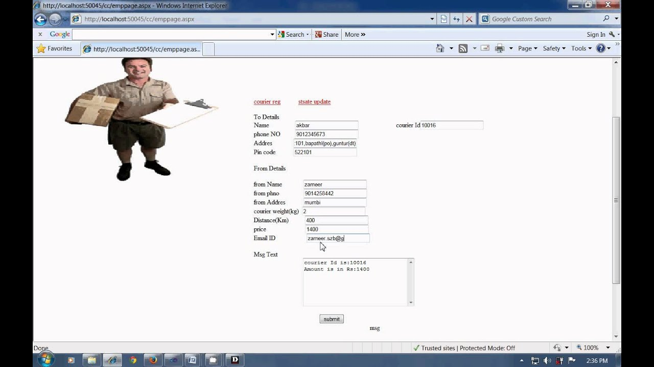 Online Courier Management System Project In Asp Net