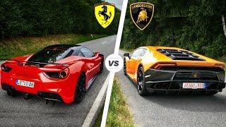 Ferrari 488 GTB vs Lamborghini Huracan SOUND Exhaust POV Drive *Bot...