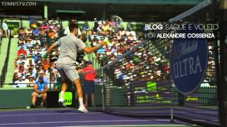 Djokovic hits ball over the net - Miami 2014