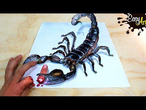3d Scorpion Drawing Amazing Realistic Illusion Youtube