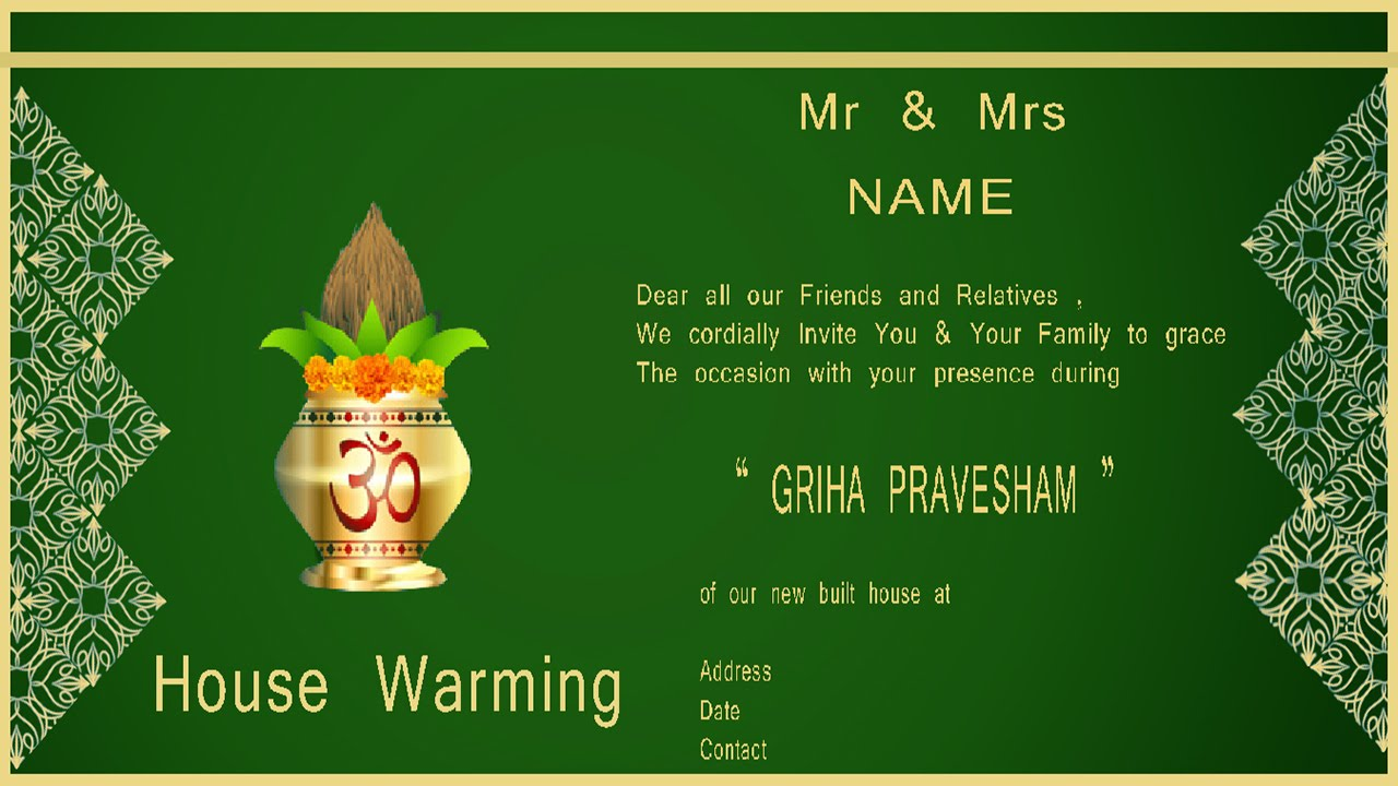 How To Design House Warming Ceremony Invitation Card In Photoshop