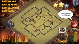 Th9 Dead zone War base Anti 3 with Bomb tower + Replays [clash of clans]