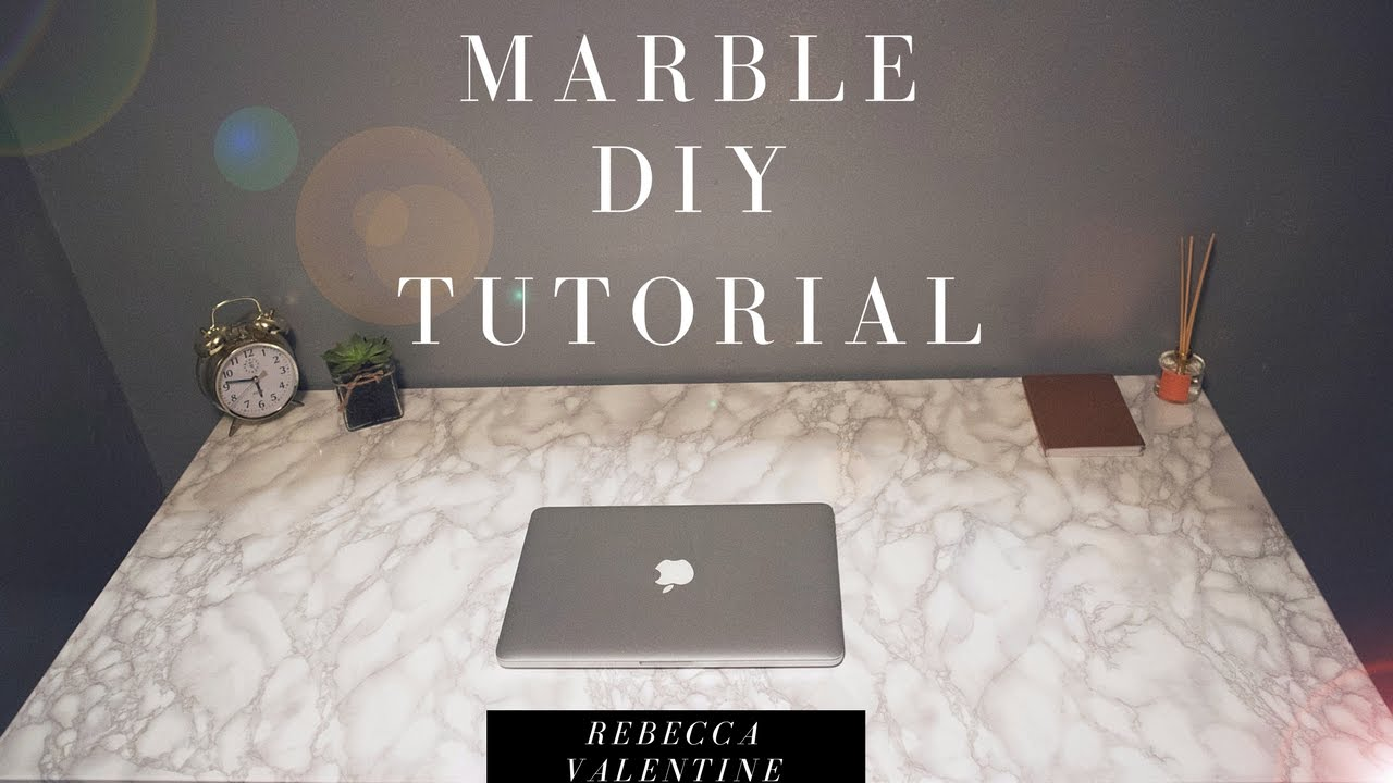 DIY Marble Contact Paper Desk | Cheap & Easy