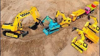 Building Road with Grader, Truck, Excavator,Road Roller | Building blocks colore toys for kids