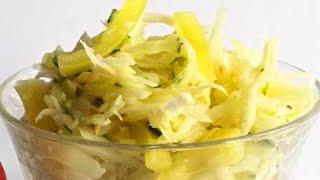 Салат «Кольрабика» с Яблоком и Кольраби кулинарный видео рецепт(Кольраби содержит очень много витамина С, ее даже называют «лимоном на грядке». Также в капусте много калия,..., 2014-09-14T05:00:02.000Z)