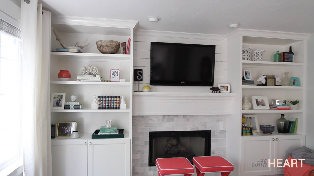 diy built ins part 2 withheart youtube - Built In Bookshelves Around Tv